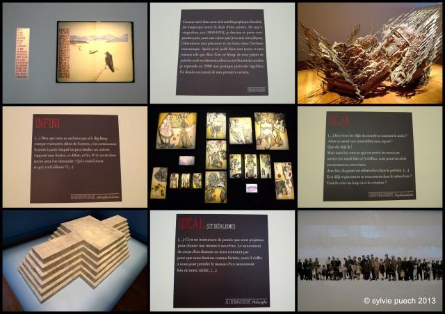 Ohran Pamuk, Extrait d'un carnet intime, 2012 - Diana Al-Hadid, Build from our Tallest Tales, 2008 - Nourredine Ferroukhi, Mes Grotesques, 2012 - Marwan Rechmaoui, Sketch, 2012 - Philippe Favier, Sciophiligrane (détail), 2011